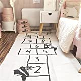 Jeteven Spielzeug Teppich Matte Kinder Baby Kinderteppich Mat Wandteppich Kinderzimmer Deko groß und dünn mädchen Jungen Game Carpet 170X72cm weiß