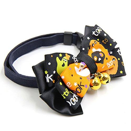 sourcingmap® Geschenk justierbar Hundehalsring Haustier Schleife u. Glocken schwarz orange
