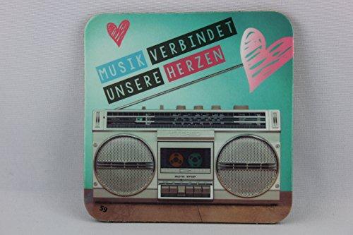 Sheepworld, Gruss & Co - 81061 - Untersetzer Nr. 59, Musik verbindet unsere Herzen, Kork, 9,5cm x 9,5cm