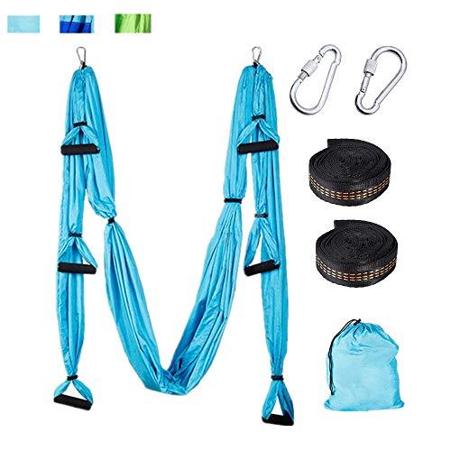 Sinbide Yoga-Hängematte Yoga Tuch zum Aufhängen Yoga Schaukeltuch Hängematte aus 210T Nylongewebe 250 * 150 cm für Yoga Anti-Schwerkraft Pilates 600kg Belastung (blau 01)