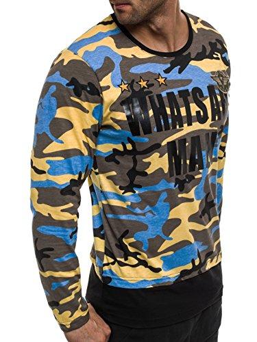 OZONEE Herren Longsleeve Sweatshirt Langarmshirt Camouflage Armee Militärstil ATHLETIC 1086 Gelb_MAD-1754