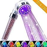 Jopee Badezimmer Duschkopf mit 7 Farben LED Licht Automatisch Wechselnde, Doppel Filtration Filter Duschbrause Halterung Regenbrause Wassereinsparung