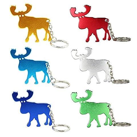 TEMLUM 2 in 1 Moose Shape Creative Alloy Bottle Opener Keychain for Christmas Gift (6 colors / 6 Pcs)
