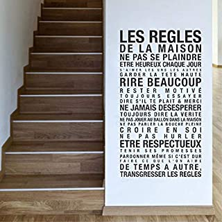 ZMYZ Wall Sticker decal House Rules Wall Stickers Quotes Home Interior Decor Living Room Les Regles De La Maison Wall Decals Mural 42 * 76Cm