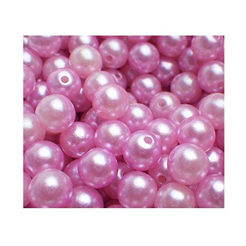 1000 nachgebildete lose Perlen Perle Bastelperlen Dekoperlen Kunstperlen Kunststoffperlen lose rosa pink mit Loch (Rosa-Pink)