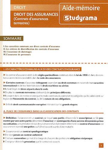 Droit des assurances : (Contrats d'assurances terrestres)
