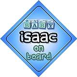 Pancarte «Bébé à bord» pour garçon avec inscription Baby Isaac on board - Idée cadeau de naissance