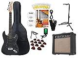 Rocktile Super Kit Komplettset E-Gitarre (Verstärker, Stimmgerät, Kapodaster, Gurt, Plektren, Tasche, Gitarrenständer und Schule inkl. CD/DVD) schwarz