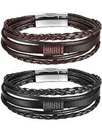 Oidea 2 Pulseras de Cuero Trenzado para Hombre y Mujer con Cierre magnético, Negro, marrón, 19 cm