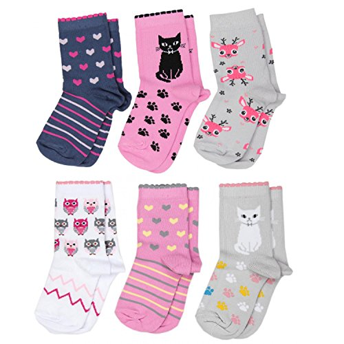 TupTam Unisex Kinder Socken Bunt Gemustert 6er Pack, Farbe: Mädchen 2, Größe: 27-30