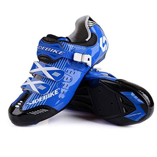 Herren/ Mann Professionelle Radschuhe Rennrad Fahrradschuhe EU Größe 41 Ft 25.5cm Blau/Schwarz (Wählen Sie eine Größe mehr als üblich) - 3