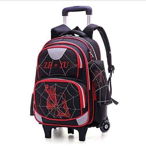 Hmjz trolley zaino grande capacità removibile impermeabile nylon zaino con striscia fluorescente,2 ruote,per ragazzi e ragazze,b