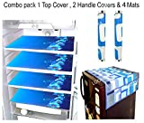 LOOMANTHA Combo of Flower Decorative 1 Fridge Top and 2 Handle Cover with 4 Refrigerator Mat (Blue and White) -7 Pieces