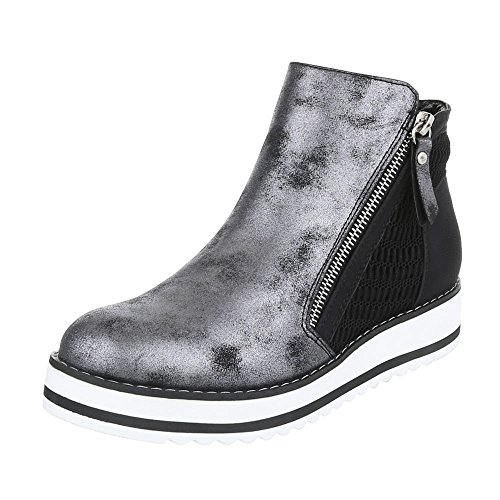 Ital-Design Klassische Stiefeletten Damenschuhe Schlupfstiefel Moderne Reißverschluss Stiefeletten Schwarz Silber 770-PA