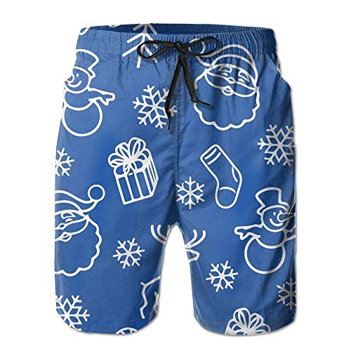 cleaer ONE-Heart-HR Men Christmas Santa Reindeer Swim Trunk Board Short Beach Shorts X-Large -