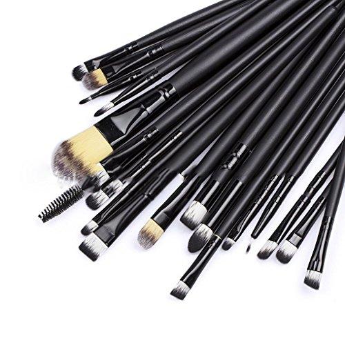 Meisijia 20 Pcs Professionnel Maquillage Brosse Ensemble Liner Outil Café Noir