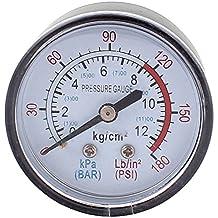 0-180 psi Aire Manometro - TOOGOO(R)Redondo 0-180 psi 13mm 1/4BSP Diametro Del Hilo Reloj comparador Aire Manometro, Negro