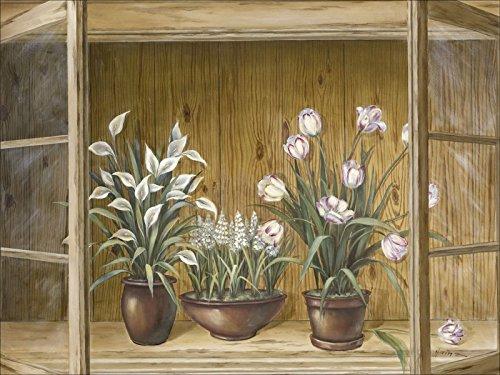 Artland Kunstdruck I Poster A. Heins Blumen in der Vitrine Stillleben Vasen & Töpfe Botanik Malerei...
