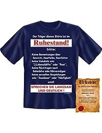 Witzige Rentner & Ruheständler Sprüche Fun Tshirt! Der Träger dieses Shirts ist im Ruhestand! - T-Shirt in Navy Blue mit Gratis Urkunde!