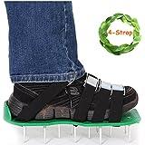 Aérateur de gazon Spike Chaussures MIS à jour 4sangles avec boucles Heavy Duty Aérateur de gazon Sandales par Kyerivs, taille universelle avec Bonus Clé