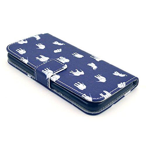 iPhone 6 6S Coque Portefeuille de NICA, Ultra-Fine Wallet-Case Housse Protection Flip-Cover Etui Pochette en Cuir Vegan, Bumper Mince pour Telephone Portable - Paris Love Edition White Elephants Edition