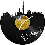 GRAVURZEILE Skyline Dortmund Wanduhr aus Vinyl Schallplattenuhr Upcycling Design Uhr Wand-Deko Vintage-Uhr Wand-Dekoration Retro-Uhr Made in Germany