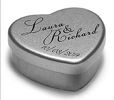 1 Luxury Personalised Heart Shaped Wedding Favour makes the Perfect Party Gift Memento Keepsake. Tins are filled with Mints, Chocolates, or