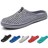 MEAYOU Mens Womens Garden Clogs Winter Warm Slippers Lightweight Walking Summer Sandals Non-Slip EVA Slippers 2 Styles, Grey1, 7.5 UK