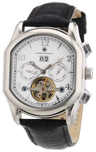 Constantin Durmont Marshal - Reloj analógico de caballero automático con correa de piel negra - sumergible a 30 metros