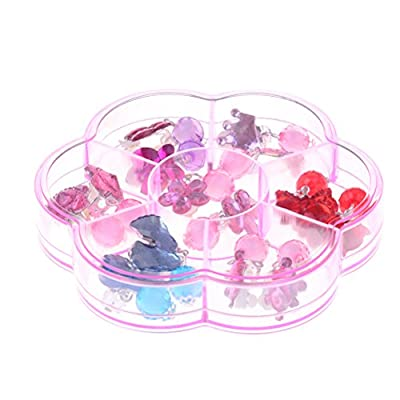 OneYang 7 Pairs Girls Clip-on Earrings Set with Pads Princess Play Earrings Jewelry Set Party Favor Pretend Play Dress Up
