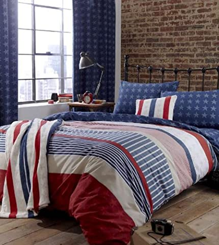 CL Kids Easy Care Vintage Style Stars and Stripe Double Duvet Set