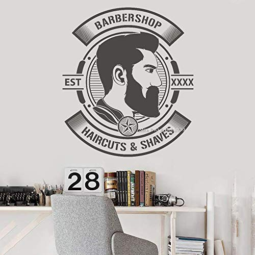 Ajcwhml Personalisierte Jahr Herren Barber Shop Logo Wall Decal Sticker Herren Salon Haircut Bart Wall Sticker 70cm x 80cm