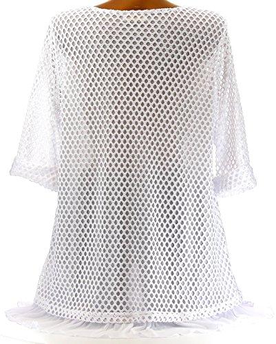 Charleselie94® - Tunique longue bohème dentelle voile grande taille blanc CLOCHETTE BLANC Blanc