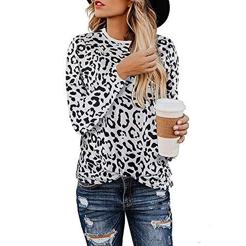 Mujeres Camisas Estampado Leopardo Cuello Redondo Casual de Manga Larga Blusas Tops Camiseta (S, Blanco)