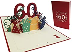 Idea Regalo - LIN Pop Up Biglietti di auguri zum 60. gebur Tag, biglietti di compleanno biglietti di auguri Biglietti di auguri di compleanno
