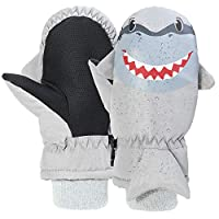 Gloves for Kids,7-Mi Waterproof Windproof Winter Skiing Gloves for Boys Girls- Outdoor Antislip Warm Shark Mitten -3 Color(3-8T)
