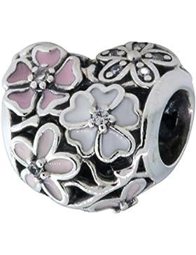 Pandora Damen-Charm Herz-Blume 925 Silber Emaille rosa Zirkonia - 791825ENMX