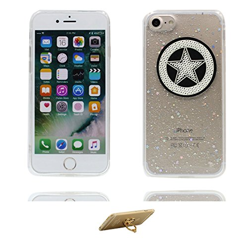 Custodia iPhone 7 Plus, Silicone trasparente Case iPhone 7 Plus copertura Cover e ring supporto Shell Graffi Resistenti - 3D Bling durevole Color - 5