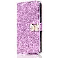 Samsung Galaxy S7 Edge 3D Butterfly Sunflower Bling Glitter Glitzer Diamond Musterg Ledertasche Slim Retro Bookstyle mit Standfunktion Karteneinschub Magnetverschluss Flip Wallet Hülle Schutzhülle