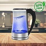 FRX Elektrischer Glas LED Wasserkocher Blau 1,8 Liter 2000 W (Blau)