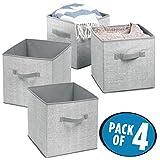 mDesign boîte de rangement pour enfant (lot de 4) – panier de rangement pour chambre enfant ou chambre à coucher – bac de rangement idéal pour les jouets avec deux poignées – gris