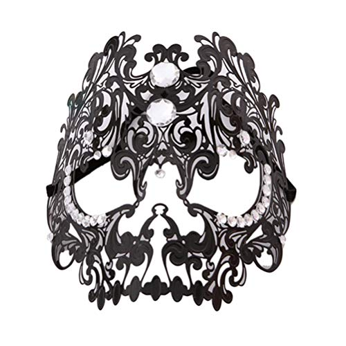 Flybloom Metall Hohlmaske Gothic Dance Augenmaske Holloween Party Kostüme Requisiten Atmosphäre Arrangiert Craft, Black Full Cover - Holloween Gothic Kostüm