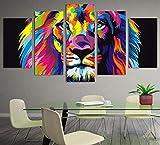 Wsxxnhh Home Decor Canvas Poster Wall Art Quadro 5 Pezzi Pitture Colorate Leone Soggiorno Stampe Modulari Immagini Animali Astratte-40Cmx60/80/100Cm,Without Frame