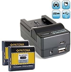 Bundlestar Akku Ladegerät 4 in 1 inkl. Ladeschale für Sony NP-BG1 und NP-FG1 + 2x PATONA Ersatzakku für Sony NP-BG1 und NP-FG1 passend zu Sony CyberShot DSC HX20V HX10V HX9V HX7V HX5V H90 H70 H55 WX10 WX1 und viele mehr - inkl. Transportbox -- mit Auto-Adapter, Netzstecker deutsch, USB und -- NEUHEIT mit Micro USB Anschluss !