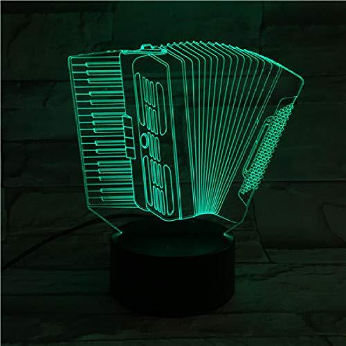 Akkordeon Usb 3D Led Nachtlicht Multicolor Rgb Jungen Kind Kinder Baby Geschenke Musikinstrument Atmosphäre Tischlampe Nacht Neon remote control