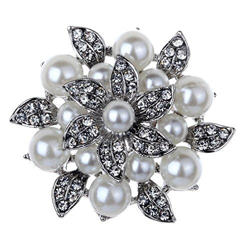Yazilind Damen-Perle Blume Brosche Pin versilbert Strass Schmuck Reflexion Perlen