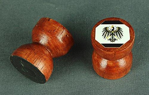Buddel-Bini Magnet Preussen Adler Flagge 25x25 mm runder Holzknauf dunkles Holz Flaggenmagnet -