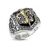 Herren Edelstahl Ring Fleur De Lis Freimaurer Ring Siegelring silber 62 - Ø 19,76 mm