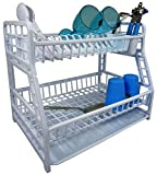 High Quality Hobby Life Durable White Plastic 2 Tier Dish Cutlery Drainer Rack
