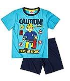 Feuerwehrmann Sam Jungen Pyjama Schlafanzug Shorty 2016 Kollektion - blau (98)